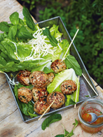 Vietnamese pork meatballs with lime dipping sauce