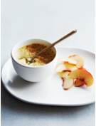 Baked custard with peaches