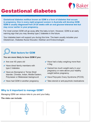 Managing gestational diabetes fact sheet